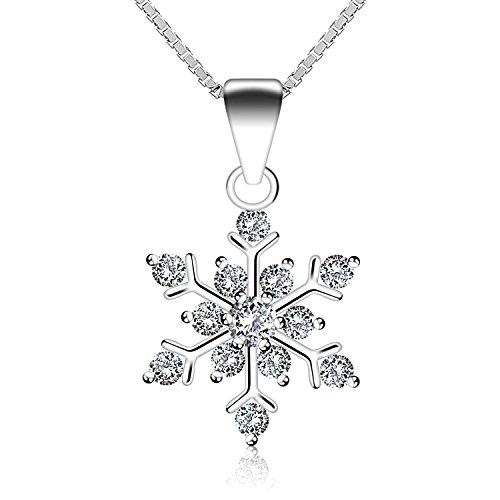 J.Rosée Kette Schneeflocke mit Zirkonia Anhänger Halskette 925 Sterling Silber,Schmuck mit Etui