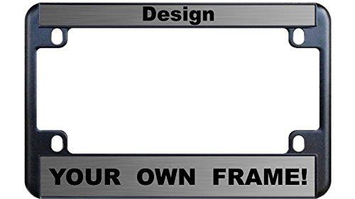 (MOTORCYCLE Custom Personalized Black Metal License Plate Frame - Steel / Black )