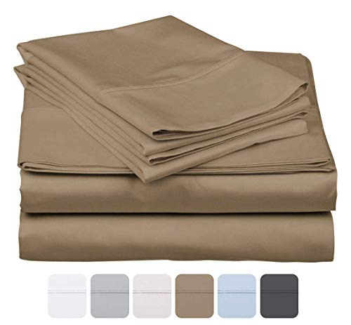 600 Thread Count 100% Long Staple Soft Cotton, 4 Piece Sheets Set, Queen Size,Smooth & Soft Sateen Weave, Luxury Hotel Collection Bedding, Taupe Solid (Taupe Bedding Collections)