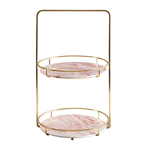 ALPS Marble Tray with Polished Gold Metal Handles Jewelry Tray Handmade Decorative Tray Catchall Trinket Dish for Dresser Bathroom Vanity Table Wedding,Birthday - Handle Marble Pink