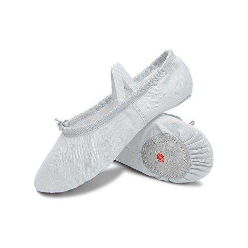 L-RUN Woman Ballet Shoes with Drawstring Topline Canvas Yoga Dance Shoes White