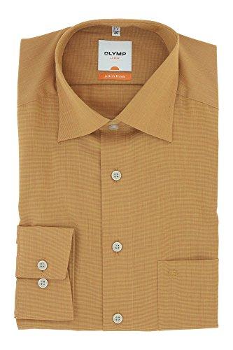 OLYMP Business & Freizeit Hemd Langarm Luxor Serie mit Kent Kragen Slim Line Gr.40 Camel Braun - bügelleicht