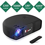 """BNEST Video Projector, 3200 Lumen Native 720P Home Theater Video Projector, 50000 Hours Lamp Life, Support 1080P 180"""" Display, Compatible Fire TV Stick, PS4, HDMI, VGA, AV USB"""