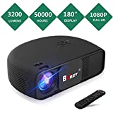 BNEST Video Projector, 3200 Lumen Native 720P Home Theater Video Projector, 50000 Hours Lamp Life, Support 1080P with 180″ Display, Compatible with Fire TV Stick, PS4, HDMI, VGA, AV and USB