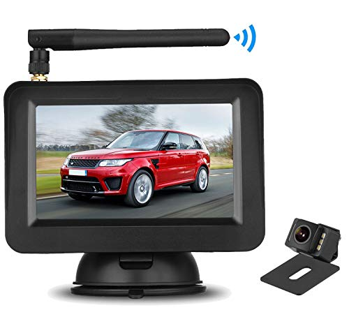HD Wireless Backup Camera with 4.3 Inch LCD Monitor Kit, Stable Signal Transmission Rear Front View Camera Suitable for Cars,Vans,SUVs IP69K Waterproof Guide Lines On Off