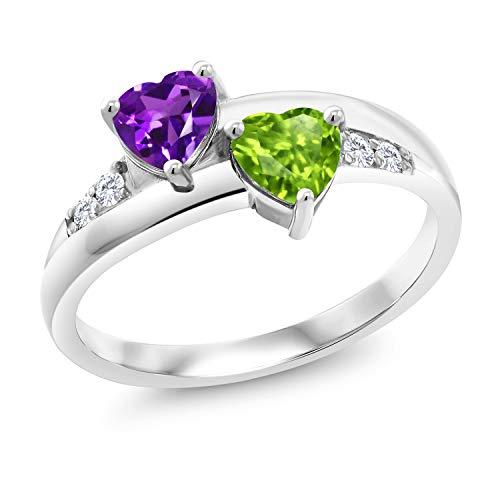 Gem Stone King 0.98 Ct Heart Shape Purple Amethyst Green Peridot 925 Sterling Silver Lab Grown Diamond Ring (Size 8)
