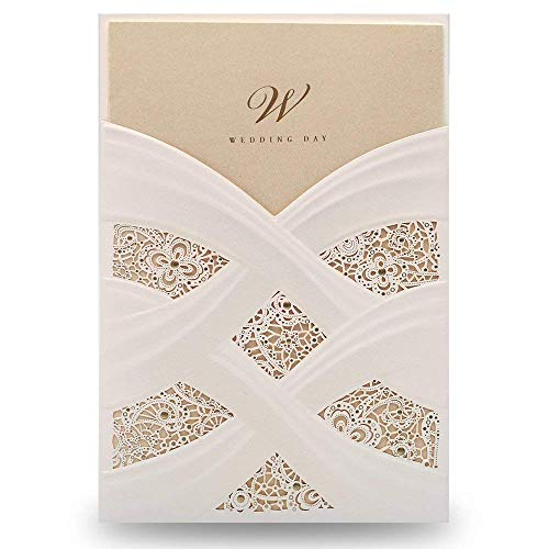 YU FENG 50pcs Vertical White Hollow Flora Laser Cut Wedding Invitation Cards Kit with envelops