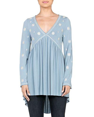 (Miss Me MMT0837L Light Blue Embroidered V-Neck Keyhole Back Tunic (Medium))