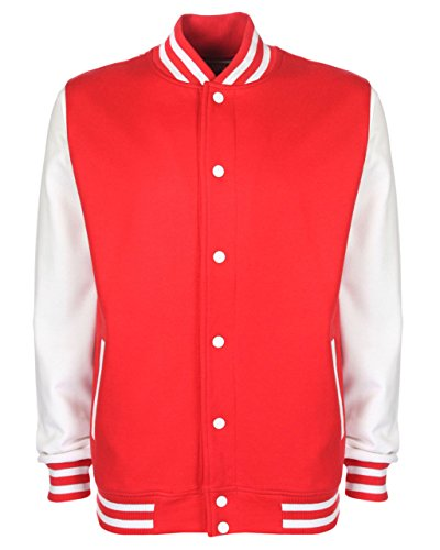white Unisex Fire Fdm Pesante Cotone Red In College Giacca Stile A7xxqRz5