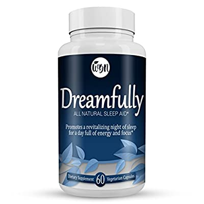 DREAMFULLY Natural Sleep Aid - Melatonin, Magnesium, Chamomile & Valerian Herbal Blend to Support a Calm & Relaxed Night - 60 Vegetarian Capsules