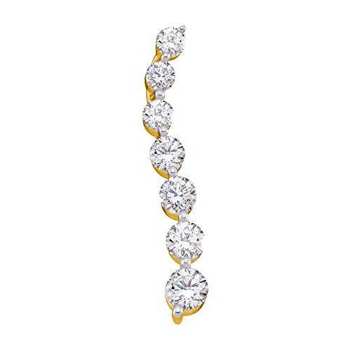 Roy Rose Jewelry 14K Yellow Gold Ladies Pave-set Diamond Journey Graduated Pendant 1-Carat - One Journey Carat Pendant Diamond