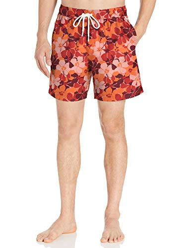 Amazon Essentials Herren Badehose 17,8 cm, Red Floral Camo, US L (EU L)
