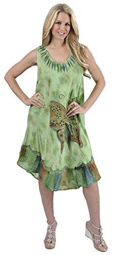 Womens Tie Dye Swimwear Beach Caftan Tie Dye Casual Green Butterfly US: 14 - 24W Spring Summer 2017