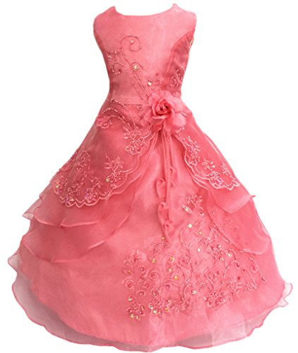 Little Girls Embroidered Beaded Flower Girl Birthday Party Dress with Petticoat Melon Red 4t-5t