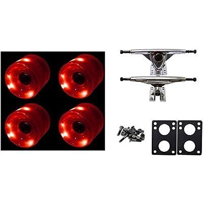 65mm Red LED WHEELS Night Light Longboard Combo 180mm Trucks/Bearings/Risers by TGM Skateboards