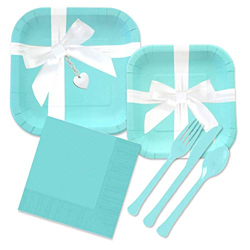 Iconic Blue Box Inspired Party Supplies Kit for 24 Guests - Paper Plates, Napkins, Forks, Spoons ()