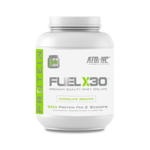 Fuel X30 Whey Isolate Protein by Atomic Strength Nutrition | Premium Quality Sugar Free Fat Free Gluten Free and Lactose Free (Chocolate Brownie, 5 Pound)