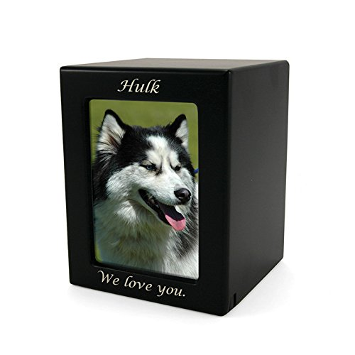 Photo Frame Wood Memorial Urn for Pets - Medium - Holds Up to 85 Cubic Inches of Ashes - Black Cremation Urn for Cat, Dog - Custom Engraving Included by OneWorld Memorials