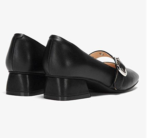 Jane De Femmes Pompes Chaussures Confortable Mary Nouvelle Mode Talon Printemps Carr Noir Boucle Ximu Ceinture Sandales Ca8qHn