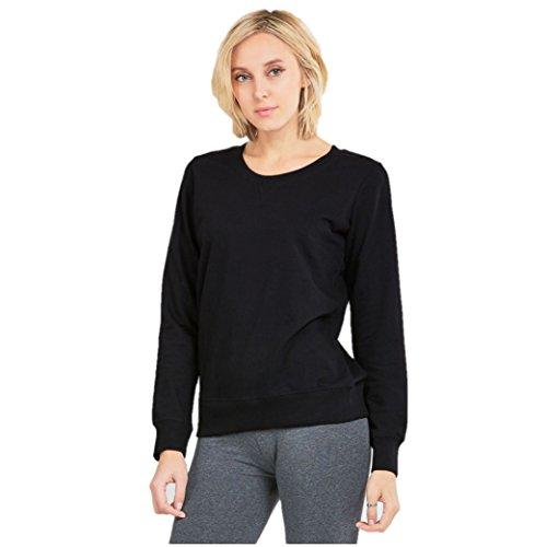 Mechaly Women Classic Black Cotton Sweatshirt (Small) Black Classic Sweatshirt