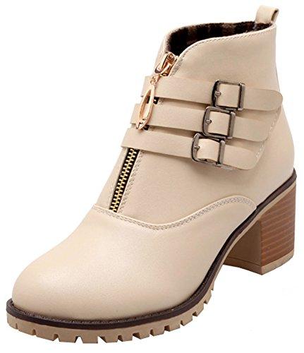 Round Toe Mofri Block Straps Boots Booties Elegant Buckle Beige Short Heel Medium Stacked Women's Zipper Front Ankle vrwPSnxqv