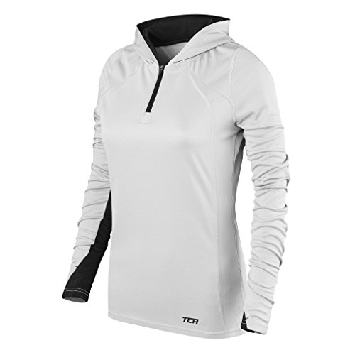 Women's TCA Energy 1/4 Zip Lightweight Running Hoodie - Cool Grey/Black XL