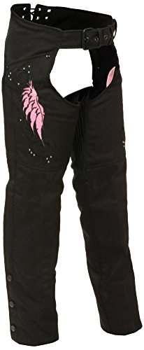 (Milwaukee Performance SH1956-BKPNK-L Women's Doublon Chaps with Wings (Black/Pink, Large))