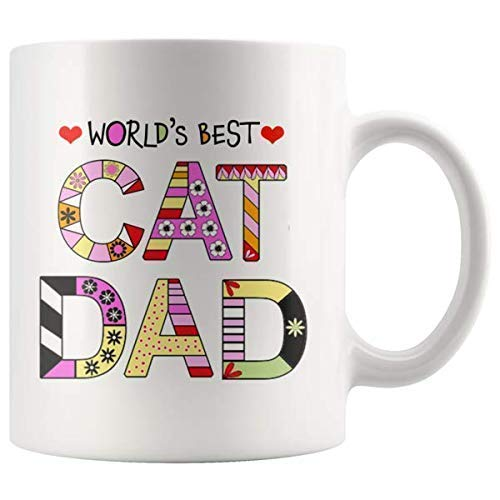 Cat Dad Mugs - Super Cute Cat Ceramic Mug - Funny Kitty Coffee Cups Novelty for Kitten Lovers - Crazy Cat Guy I Love Cats Cup for Women - World's Best Cat Mom