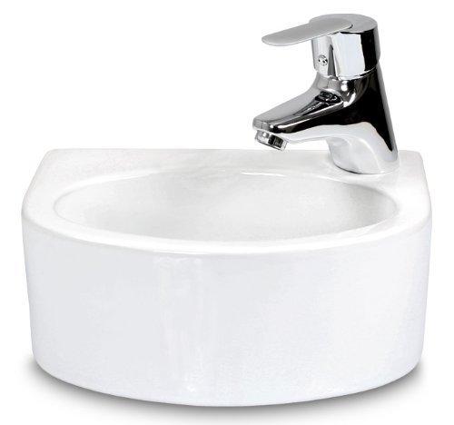 Miganeo Premium-Waschbecken 30cm x 22,5cm x 11,5cm Waschtisch Gäste WC Keramik Handwaschbecken Design-Waschschale Nr. 5007