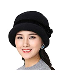 Eliffete Ladies Elegant Wool Blend Beanie Cap Round Top Bucket Hat Winter Fedora