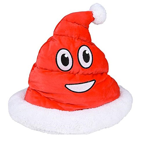 Novelty Treasures Festive Emoji Santa Poop Hat Plush Christmas Holiday Party Headpiece -