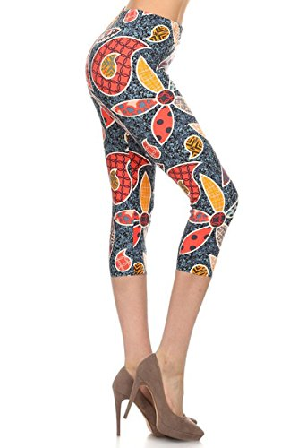 Leggings Depot Capri REG/Plus Women's Buttery Popular Prints BAT1 (Plus Size (Size 12-24), Playful Florals)