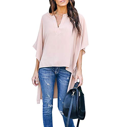 Joteisy Women's V Neck Casual High Low Hem Blouse, Batwing Sleeve Tops (L, Nude)