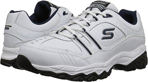 Skechers Sport Men's Afterburn Memory Foam Strike On Training Shoes,White/Navy,10 4E US (Best Mulch For Walking On)