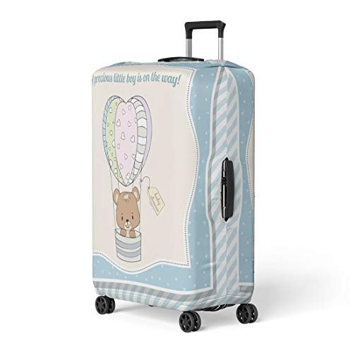Pinbeam Luggage Cover Blue Little Baby Boy Teddy Bear Announcement Birth Travel Suitcase Cover Protector Baggage Case Fits 22-24 -