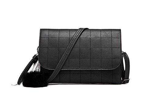 Wonderful E-life Fashion Purse Wallet Clutch Handbag Cross-body Bag with Long Shoulder Strap (Black)