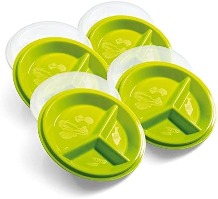 Precise Portions Go Healthy Portion Control Plates with Vented Lids, 4pk - BPA-Free Portion Control Containers Great for Weight Loss, Blood Sugar Support, Meal Planning - Dishwasher & Microwave Safe 1