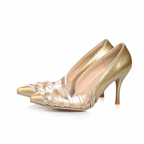 Carol Shoes Womens Sexy Pointed-toe Party Transparent Fashion High Stiletto Heel Dress Pumps Shoes Gold OlFS9cU