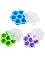 Egg Mold, Egg Molds Silicone, Mini Reusable Baby Egg Bites Mold and Baby Food Freezer Tray, Instant Pot Accessories for Pressure Cooker, for Instant Pot 3QT and Above (3 Pack) (Blue + Green + Purple)