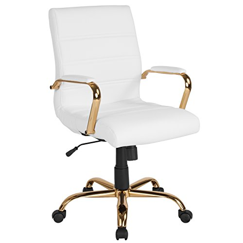 Flash Furniture Mid-Back White Leather Executive Swivel Office Chair with Gold Frame and Arms - GO-2286M-WH-GLD-GG