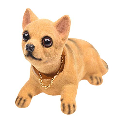 MONLIYA Bobble Head Chihuahua,Car Decoration Nodding Dog Ornaments High Emulation Creative Dog Dashboard Crafts Dog Lover Gift for Car Vehicle Desk Tabletop Office Decor Baby Kids Toy(Chihuahua)