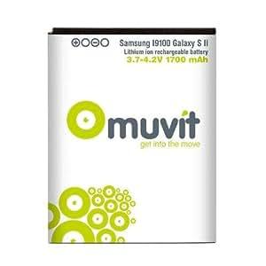 Muvit MUBAT0014 - Batería de litio para Samsung Galaxy S2 i9100, 1700 mAh