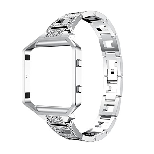 For Fitbit Blaze, Seamount Fashion Luxury Alloy Crystal Watch Band Wrist Strap With Metal Frame (Silver)