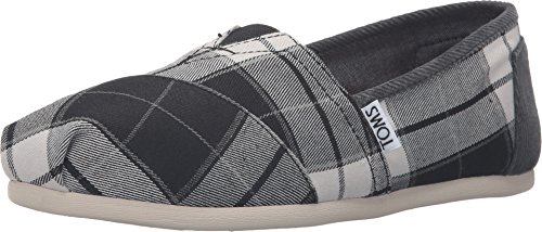 TOMS Womens Classic Slip On Canvas Square Toe, Black/White Plaid, Size 5.5