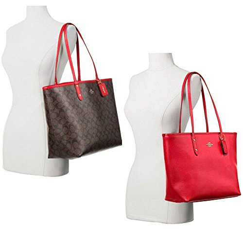 SALE ! New Authentic COACH Signature Reversible LARGE XL Tote 2 Fabulous Looks! Brown/Red
