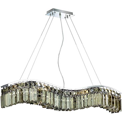 - Elegant Lighting 2040D30C-GT/RC Contour Collection 6-Light Hanging Fixture Royal Cut Golden Teak Crystals with Chrome Finish