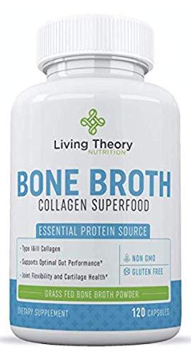 Bone Broth Capsules - Organic & Grass-Fed Collagen Capsules Organic Bone Broth Protein Powder - Multi Collagen Supplement - Healthier Hair, Teeth, Joint & Pure Hydrolyzed Collagen Peptides Gut Health