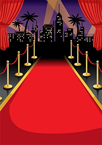 AOFOTO 5x7ft Red Carpet Backdrops for Parties Tropical Cartoon Cityscape Background Red Curtain Kids Adutls Birthday Party Events Decoration Photo Studio Props Vinyl Wallpaper