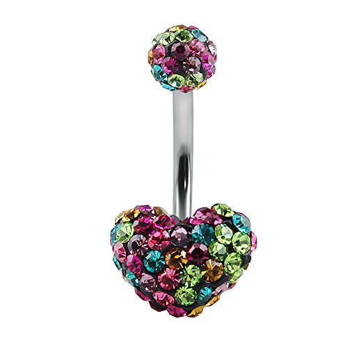 Sweetheart Buttons (Shiny Multi Crystal Double Sweet Heart Ball Belly Button Ring Navel Ring Body Jewellery (Rainbow))