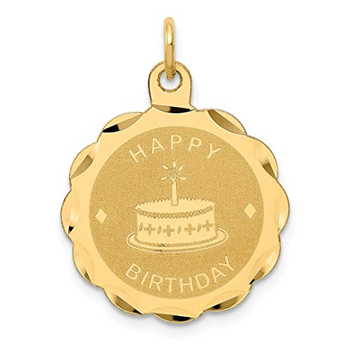 Scale 18th Yellow (14k Yellow Gold Happy Birthday Pendant Charm Necklace Special Day Fine Jewelry Gifts For Women For Her)